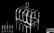 1930's Period 4 Tier Silver Toast Rack of Good Form. Hallmark Birmingham 1933. 2.75 Inches wide & 3 Inches High. Excellent Condition.