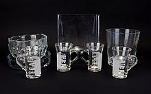 A Collection Of Assorted Glassware. six pieces, comprising of two vases, two bowls and four tea glasses.