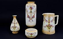 Devon Ware Fieldings & Co Set of ( 4 ) Pottery Items. Comprises Jugs and Vases In The ' Etna ' Pattern. Reg No 578617. c.1920. Vase - 9.25 Inches High & Jug - 7 Inches High.