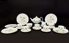 English Translucent China Tumbling Leaves Royal Doulton Part Tea Set Blue. Compromising of one tea pot, six cups, eleven saucers, six plates, one sugar bowl and one milk jug