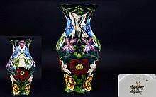 Moorcroft Stunning and Large Limited and Numbered Edition Signed Vase 'Hidcote Manor' Pattern. Designer Philip Gibson, date 2004. This vase is numbered 49 of 75 only. Signed in gold by Phillip Gibson to base. Stands 18 inches tall. First quality and