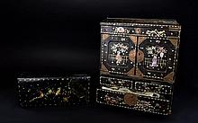 Antique Chinese Inlaid Writing Box Large rectangular standing box/miniature cabinet with top hinged lid, three small drawers and two hinged central sections. The whole decorated with figurative and floral mother of pearl inlay. Height, 14 inches,