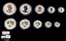 Royal Canadian Mint 2016 Silver Maple Leaf Set Comprises five silver coins with proof finish and 24ct gold plate on both reverse and obverse of each coin. 5 Dollars, 4 Dollars, 3 Dollars, 2 Dollars and one Dollar. Only 7500 sets issued. 999.9/1000