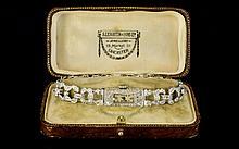 Ladies Art Deco Platinum & Diamond Bracelet Watch, Rectangular Case, Manual Wind Movement Marked Reno W. Co, Milgrain Set Diamond Bezel And Bracelet, Case Marked Plat