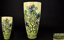 William Moorcroft Signed Tall Tube lined Vase, Bourgainvillaea Design, Naturalistic Colours on Yellow, Pale Green Ground. c.1950's. 12.5 Inches High.