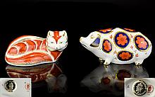 Royal Crown Derby Paperweights ( 2 ) In Total. Comprises 1/ Red Fox - Green Eyes. Issued 1990 - 1993, Silver Stopper. 1st Quality & Mint Condition. 2/ Pig - Gloucester Old Spot, Imari Pattern. Issued 1985 - 1995, Silver Stopper. 1st Quality & Mint