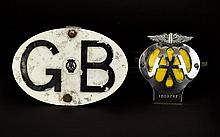 A Vintage Metal G.B Car Badge by The ' AA ' Complete with a Winged ' AA ' Car Badge.