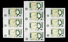 Bank of England Collection of One Pound Notes. c.1970. ( 10 ) In Total. All