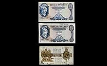 A Small Collection of Bank of England ( 3 ) Five Pound Notes ( 2 ) and One