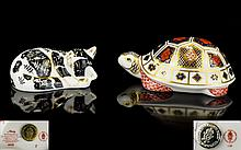 Royal Crown Derby Paperweights ( 2 ) Two In Total. Comprises 1/ ' Turtle ' Introduced In 1983, Old Imari Pattern, 1128 Design. Silver Stopper, 1st Quality & Mint Condition. 2/ ' Misty ' Exclusively For The Royal Crown Derby Collectors Guild, Dated