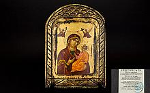 Greek Orthodox Hand Painted Icon of Large Proportions. Comes with Certifica