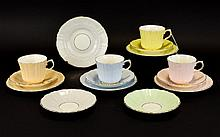 Old Royal Bone China Set of Pastel Coloured Cup & Saucer Sets 4 in total to include, peach, pink, blue & yellow, plus 3 additional saucers.