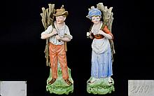 German - Late 19th Century Pair of Hand Painted Bisque Figures Depicting Ma