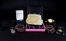 A Mixed Collection Of Costume Jewellery And Accessories Approx twelve items to include bead and wire necklace, boxed gents Citizen watch, keyrings, lurex purse etc.