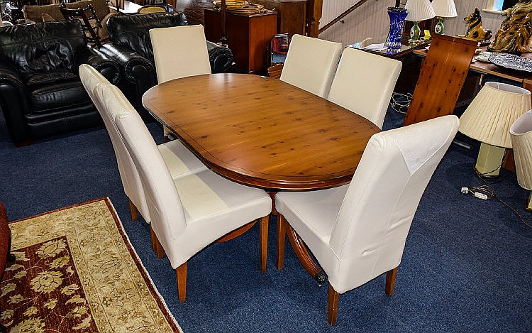 dining table and six chairs large light wood extending dini