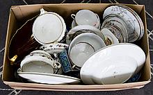 A Collection of Ceramics and Collectable over 20 items to include Carlton Ware Rouge Royale leaf shape dish, small onyx bowl, Olive wood goblet and several items of Oriental serve ware, boxed thimbles etc