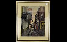 Original Pastel Drawing By A Collins 'The Shambles York' Framed pastel draw