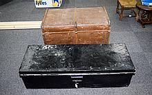Large Early 20thC Travelling Trunk Together With A Black Painted Metal Trunk
