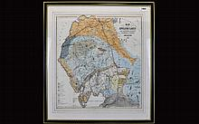 Framed Map Of The English Lakes And Adjoining Country, Geologically Coloured By John Ruthven Of Kendal 1855, Published By John Garnett, Windermere. 19 x 16 Inches