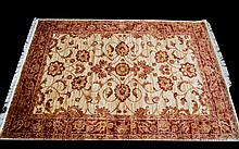 A Very Large Woven Silk Carpet Large Zeigler carpet, red ground with repeated red floral and foliate design and matching red border detail. Brand new condition, 2.80 x 2.00 M.