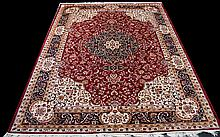 A Large Woven Silk Carpet Keshan rug with beige ground and traditional Middle Eastern floral and foliate border detail with central cruciform pattern in red, cream, ochre and midnight blue. Brand new condition, 2.80 x 2m