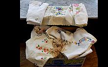 Box Containing A Quantity Of Linen, Table Cloths etc