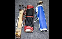 Three Golf Bags Containing A collection Of Mixed 20thC Golf Clubs, Hickory And Metal Shafts
