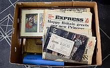 Mixed Lot Of Ephemera, Comprising First Day Covers, Leather Bound Minute Book F.R.D.C Sanitary Committee, Framed Postcard Print, Newspapers, Royal Mail Mint Stamps, Chinese Musical Postcard/Photo Album etc