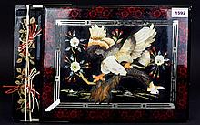 Decorative Oriental Photograph Album Large wood, lacquer and inlay album with bird and blossom detail, contains various black and white and colour images from 1920's - 1970's. Damage to spine