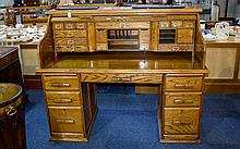 Large Mid 20thC Roll Top Writing Desk,  Fully Fitted Interior Containing Pigeon Holes, Drawers/Compartments etc, Central Frieze Drawer Between Brush Slides Above Two Pedestals Each With Three Graduating Drawers