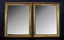 A Pair of Gilt Wood Frame Mirrors. Approx 15 x 18.3/4 Inches.