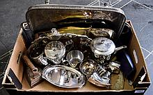 Box of Assorted Metal Ware including rectangular serving tray, scalloped edge tray, part teaset, serving ware, irons etc