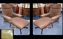 Two Retro Armchairs with matching Footstools upholstered in brown fabric with teak quatrefoil bases. Original Toothill Care label. Typical mid century style.