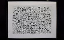 Cricket Interest Framed Signed Print 'Somerset Cricketers Past And Present'