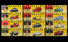 A Collection Of Vanguards Cars. 12 in total Including Hotpoint Ford Anglia Van, Royal Mail Van, Red VW Cabriolet, Regent Bedford's Type Tanker, Castrol Ford Thames Trader Tanker, Birmingham Police Mini, White Mini, Green Mini, White/Maroon Ford