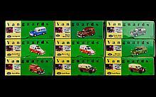 A Collection Of Precision Die- Cast Replica Vanguards Cars. 9 in total including Mini Van Bristol Water, Ford 300E, Austin A40 Van, Morris Minor Van, Landrover British Rail, Ford Anglia Van Stratford Blue, Morris Minor Van Hoover, Landrover British