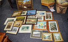 A Large Collection Of Prints And Original Artworks Twentyone items in total to include oil on canvas depicting a trawler, several watercolour landscapes, large autumnal oil on canvas, various vintage prints and Russell Flint prints etc. A varied