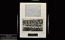 Liverpool Football Club Autograph Interest Rare Group Of Original Autographs From 1957 - 1978 A Rare and immaculately presented item, Housed in contemporary black gloss frame with black and white team photo and etched plaque to bottom. Autographed