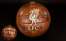 Liverpool Football Club Interest Autographed Retro Football Signed By Jurgen Klopp, Firmino, Henderson And Coutinho Official brown leather L.F.C branded leather football, signed by manager and players. Provenance, obtained by in person by our client