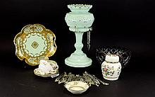 A Collection of Assorted Pottery and Glass including Lustre, Coalport 'Ming Rose' Jar and Cover, pair of Royal Doulton Cups and saucers, and a small Noritake dish and a large Noritake dish, two handled with gilt and lime green decoration, 10 inches
