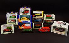 A Collection Of Boxed Corgi and Vanguards Vehicles. Including Oxford Christmas 2006 Van, Oxford Christmas 2012 Lorry, Oxford Christmas 2007 Van, RAC Mobile Service Unit Van, TNT Ford Transit Van, Oxford Christmas 2004 Lorry, Christmas 2011 van,