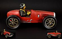 A Vintage Copy of A 1920'S Model of a Racing Car with Driver Seated. c.1970's. Hand Painted - Realistic Model. 16 Inches In length & 7.5 Inches High.