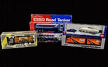 A Collection of boxed vehicles. 5 in total including 2 Esso Road Tankers, Siku Car With Motorboat, Joal Die Cast - Metal Coronation Pacific Lorry and Corgi Volvo 4 Wheel Rigid Lorry & CC Trailer- Allied Pickfords.