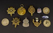 Collection Of 7 Cap Badges Together With A WW1 Medal, Awarded To T4-263543 DVR W Herety