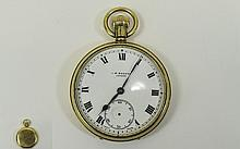J W Benson 9ct Gold Cased Open Faced Pocket Watch, hallmark London 1936. Wh