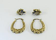 Ladies Pair of 9ct Gold Creole's / Hoop Earrings + a Pair of 9ct Gold Set D