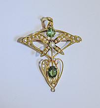 Art Nouveau - Fine 15ct Gold Tsavorite Garnet and Seed Pearl Pendant / Broo