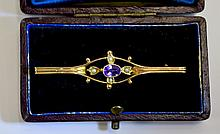 Victorian - Well Designed 9ct Gold Bar Brooch, Set With a Central Amethyst,