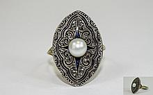 Antique - Very Fine Gold Set Marquise Shaped Diamond and Pearl Dress Ring.