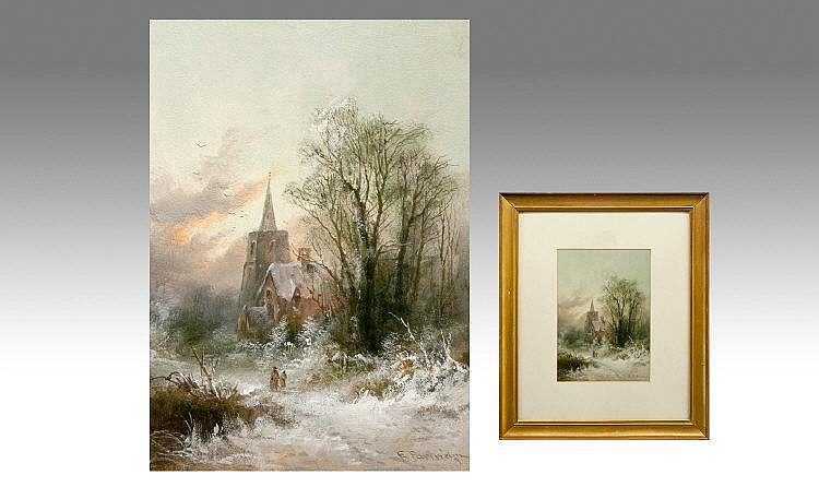 Edward Partridge 1896. Old Church In Winter,